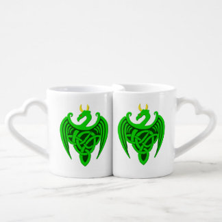 Green Celtic Dragon Mug Set
