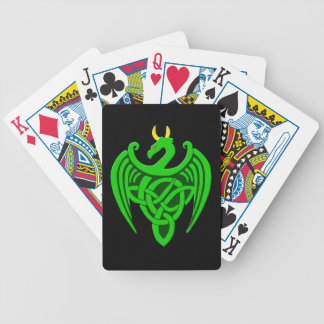 Green Celtic Dragon Playing Cards