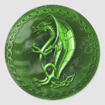 Green Celtic Dragon Round Stickers