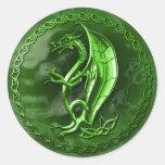 Green Celtic Dragon Round Stickers