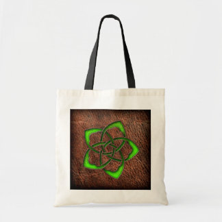 Green celtic flower knot on leather