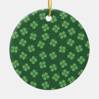 Green Celtic Irish Four Leafed Clovers St. Patrick Ceramic Ornament