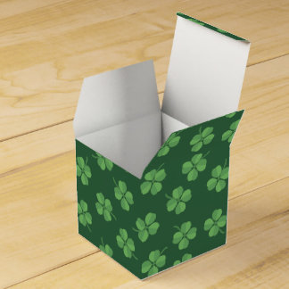 Green Celtic Irish Four Leafed Clovers St. Patrick Favour Box