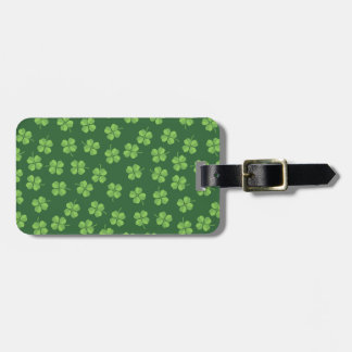 Green Celtic Irish Four Leafed Clovers St. Patrick Luggage Tag