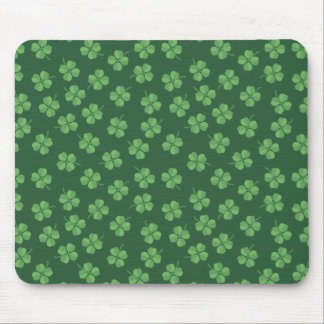 Green Celtic Irish Four Leafed Clovers St. Patrick Mouse Pad