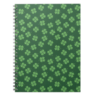 Green Celtic Irish Four Leafed Clovers St. Patrick Notebook