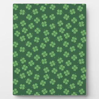 Green Celtic Irish Four Leafed Clovers St. Patrick Plaque