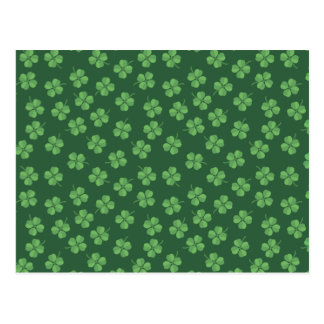 Green Celtic Irish Four Leafed Clovers St. Patrick Postcard