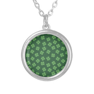Green Celtic Irish Four Leafed Clovers St. Patrick Silver Plated Necklace