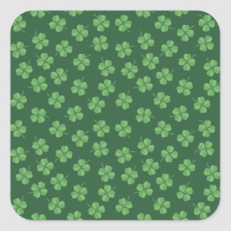 Green Celtic Irish Four Leafed Clovers St. Patrick Square Sticker