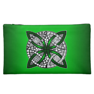 Green Celtic Knot Cosmetic Bags