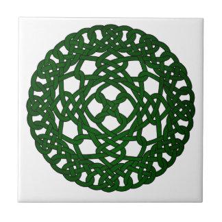 Green Celtic Knot Design Small Square Tile