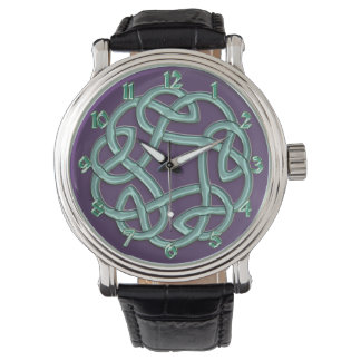 Green Celtic Knot On Purple Classic Watch