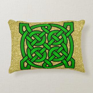Green Celtic Knots Gold Faux Glitter Decorative Cushion