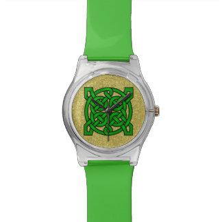 Green Celtic Knots Gold Faux Glitter Watch