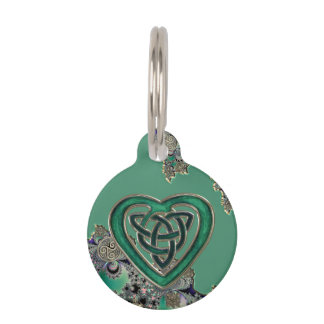 Green Celtic Mystical Fractal Pet Name Tag