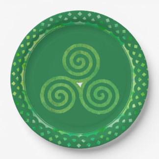 Green Celtic Shamrock Paper Plate