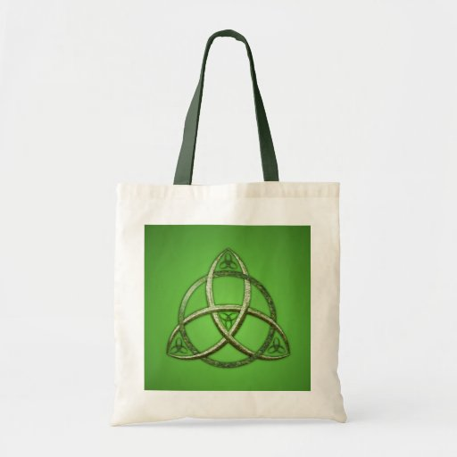 Green Celtic Trinity Knot Tote Bags