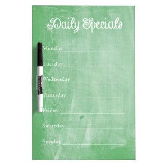 Green Chalkboard Dinner Menu Dry Erase Board
