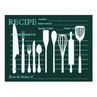 Green Chalkboard Retro Recipe Card Kitchen Tools