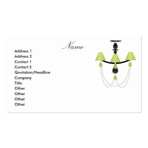 Green Chandelier Business Card Template