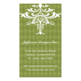 Green Chandelier Checkered Business Cards