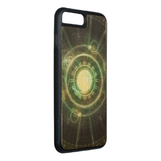 Green Chaos Clock, Steampunk Alchemy Fractal Manda Carved iPhone 8 Plus/7 Plus Case