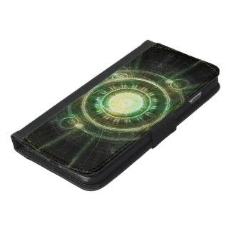 Green Chaos Clock, Steampunk Alchemy Fractal Manda iPhone 6/6s Plus Wallet Case