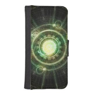 Green Chaos Clock, Steampunk Alchemy Fractal Manda iPhone SE/5/5s Wallet Case
