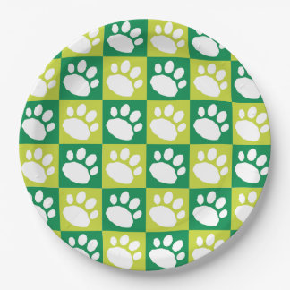 Green Checkerboard Paw Print Paper Plate