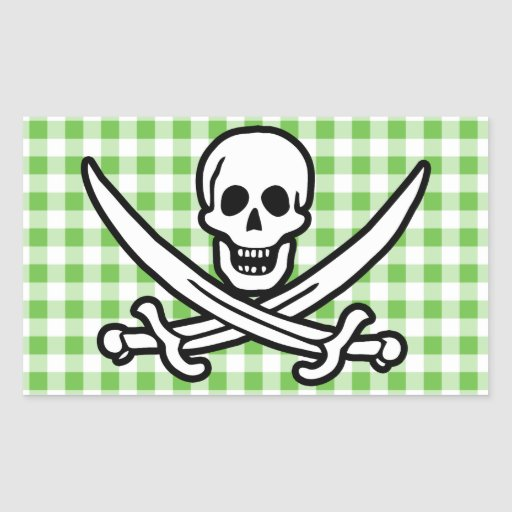 Green Checkered; Gingham Jolly Roger Stickers