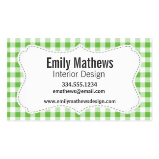 Green Checkered Pattern Business Card Template