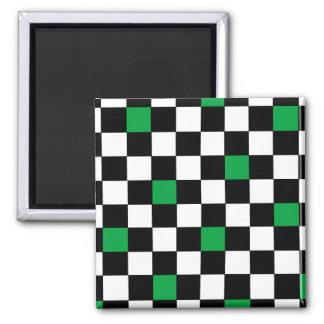 Green Checkers 2 Fridge Magnet