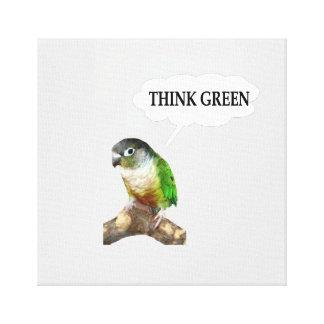 "Green Cheek Conure ""Think Green."" Gallery Wrap Canvas"