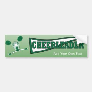Green Cheerleader Girl Silhouette Bumper Sticker