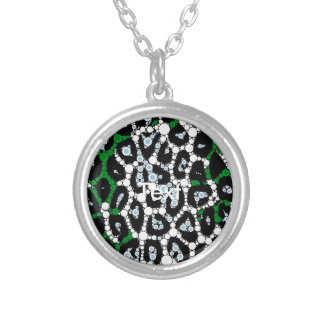 Green Cheetah Circle Abstract Round Pendant Necklace