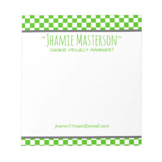 Green Chequered Notepad