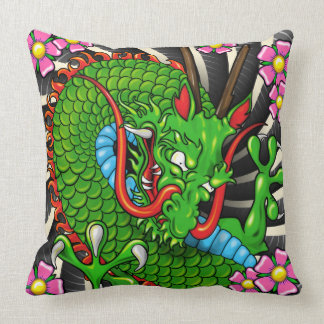 Green Cherry Blossom Dragon Tattoo Art Wind Bars Cushion