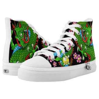 Green Cherry Blossom Dragon Tattoo Sneakers