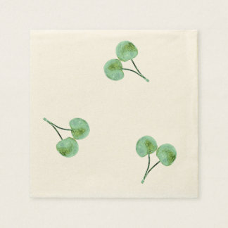 Green Cherry Pattern Disposable Napkins
