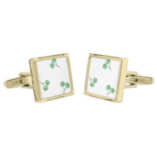 Green Cherry Pattern Gold Finish Cufflinks