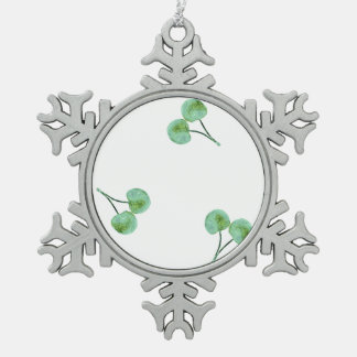 Green Cherry Pattern Snowflake Pewter Christmas Ornament