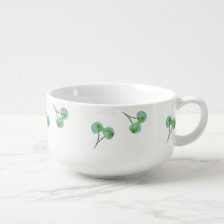 Green Cherry Pattern Soup Mug