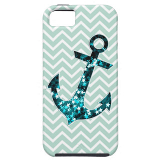 Green Chevron and Sparkly Stars Anchor iPhone 5 Cover