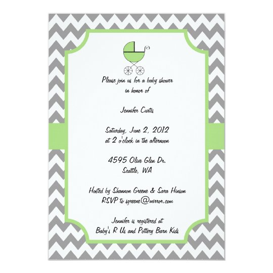 Green Chevron Baby Shower Invitation