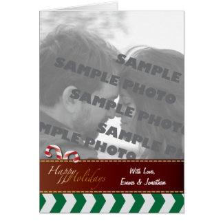 Green Chevron Candy Canes Holiday Photo Greeting C Card