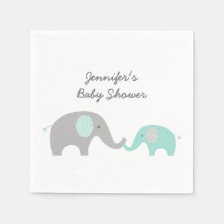 Green Chevron Elephant Baby Shower Disposable Napkin