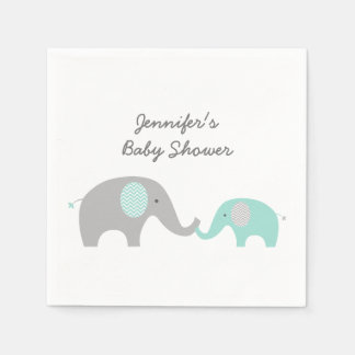 Green Chevron Elephant Baby Shower Disposable Serviettes