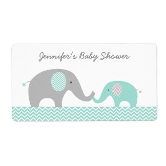 Green Chevron Elephant Baby Shower Favor Shipping Label