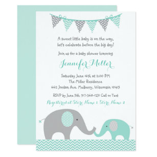 Elephant baby shower invitations announcements zazzle green chevron elephant baby shower invitation filmwisefo